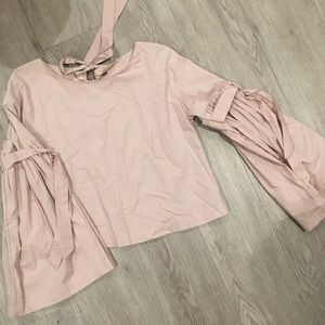 Free People Bell-Sleeve Blush Blouse